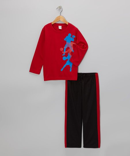 Red Athletes Tee & Black Track Pants - Toddler