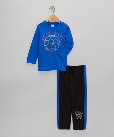 Blue Sports Tee & Black Track Pants - Toddler