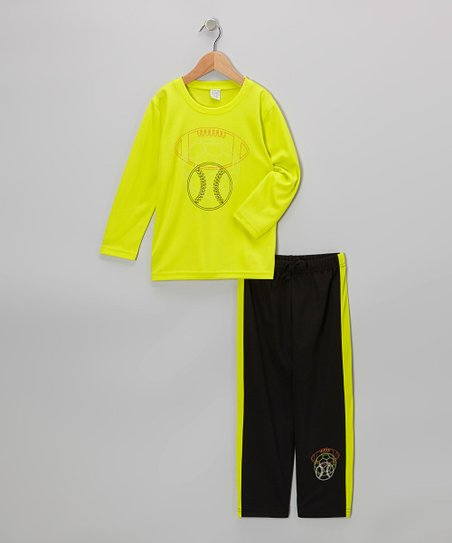 Lime Green Sports Tee & Black Track Pants - Toddler