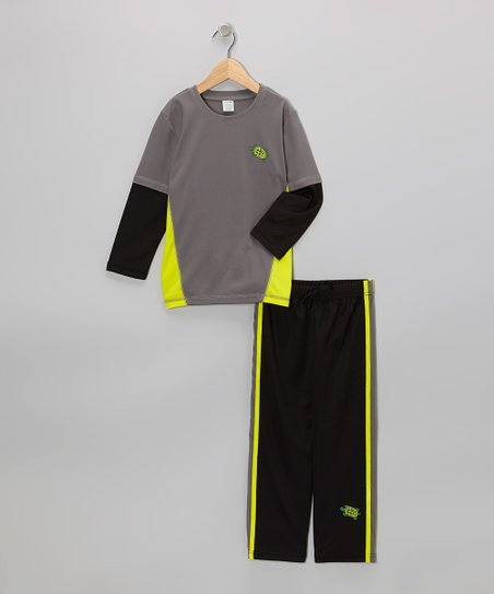 Gray & Yellow Layered Tee & Black Track Pants - Toddler
