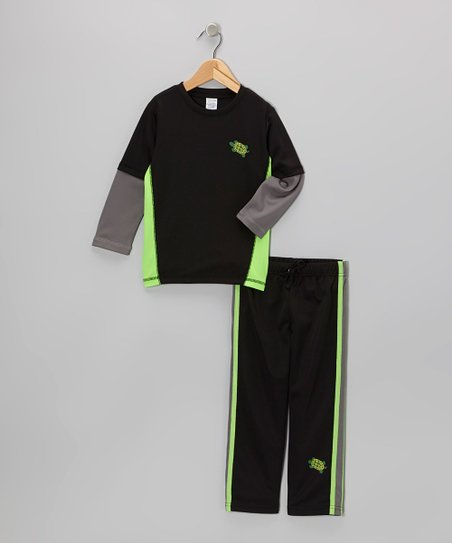 Black & Green Layered Tee & Black Track Pants - Toddler