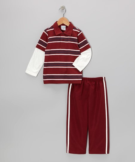 Red Stripe Layered Polo & Pants - Toddler & Boys