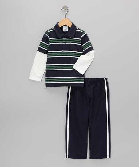 Navy Blue Stripe Layered Polo & Pants - Toddler & Boys
