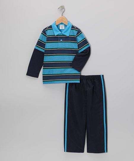 Light Blue Stripe Layered Polo & Pants - Toddler & Boys