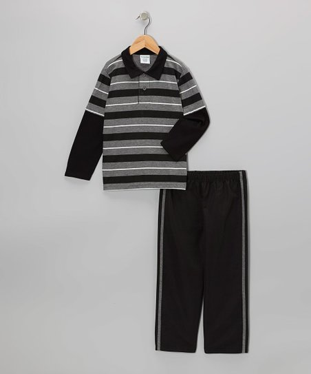 Gray & Black Stripe Layered Polo & Pants - Toddler & Boys