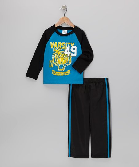 Blue Tiger Raglan Tee & Black Track Pants - Toddler & Boys
