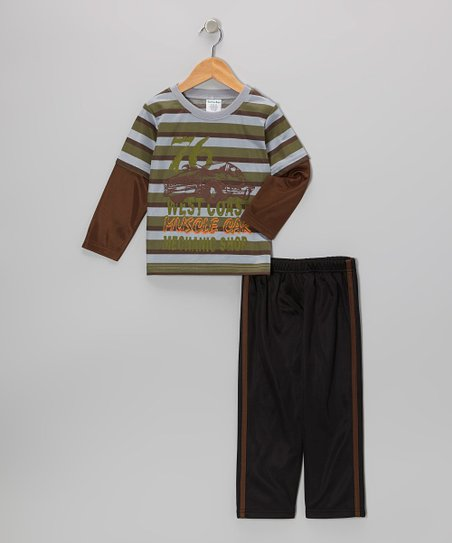 Green & Brown Stripe Layered Tee & Track Pants - Toddler & Boys