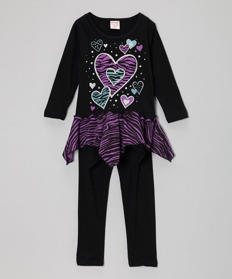 Black & Pink Heart Zebra Tunic & Leggings - Girls