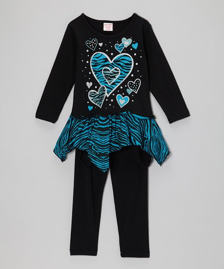 Black & Blue Heart Zebra Tunic & Leggings - Girls