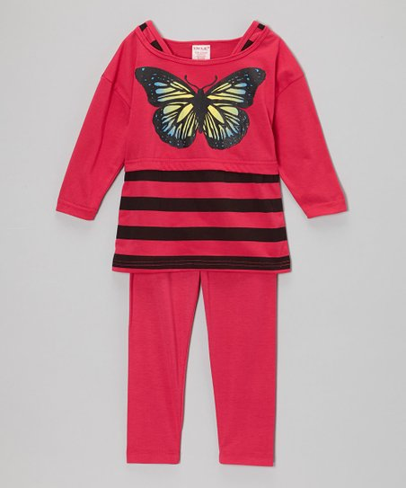 Fuchsia Stripe Butterfly Tunic & Leggings - Girls
