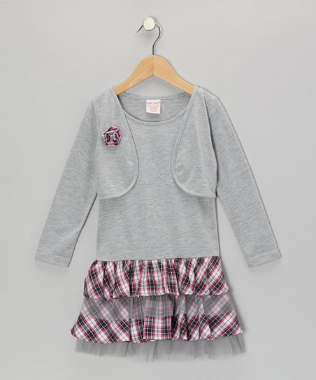 Gray Plaid Ruffle Layered Dress - Toddler