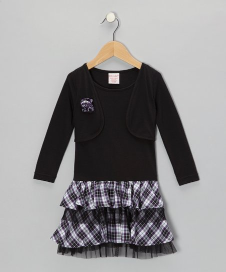 Black Plaid Ruffle Layered Dress - Toddler