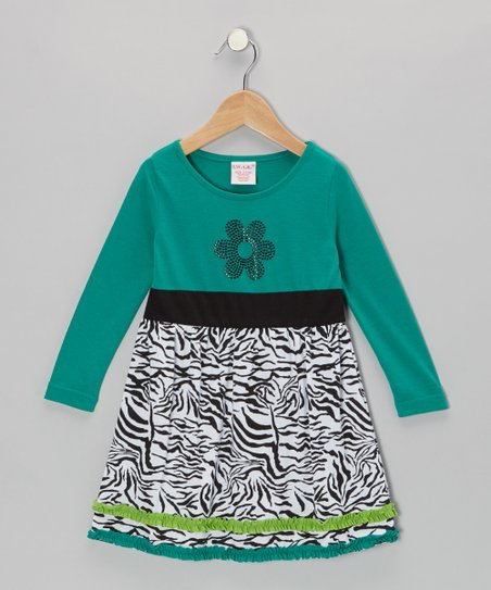 Green Flower Zebra Dress - Toddler & Girls