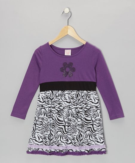 Purple Flower Zebra Dress - Toddler