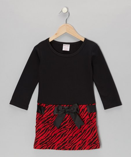 Black Zebra Bow Dress - Girls