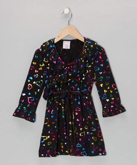 Black Shimmer Heart Surplice Dress - Toddler & Girls