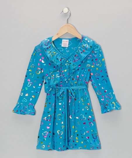 Turquoise Shimmer Heart Surplice Dress - Toddler & Girls