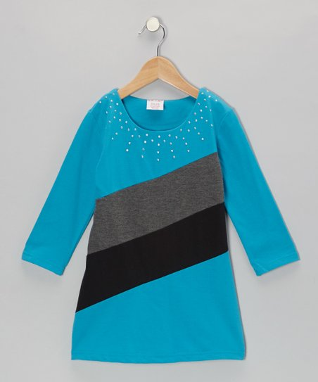 Turquoise French Terry Dress - Girls