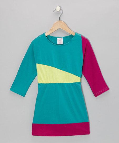 Turquoise & Fuchsia Jersey Dress - Toddler & Girls