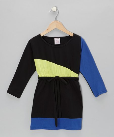 Black & Cobalt Jersey Dress - Toddler & Girls
