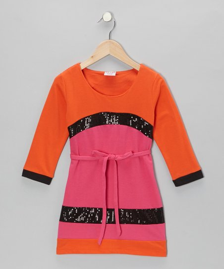 Orange Sequin French Terry Dress - Toddler