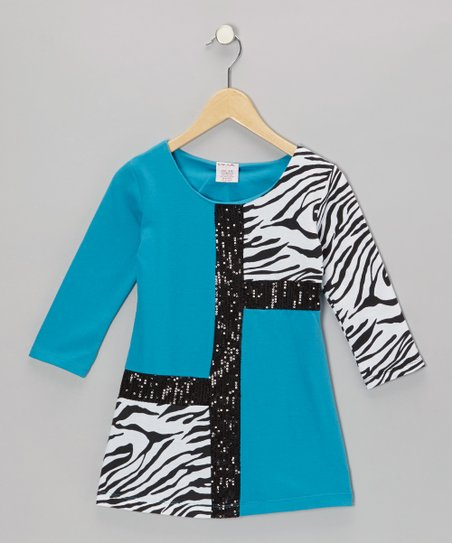 Blue Mod Zebra Terry Dress - Girls