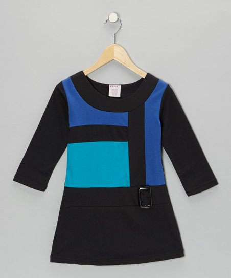 Blue Mod Terry Belt Dress - Girls