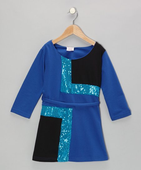 Blue Sequin Mod Dress - Girls