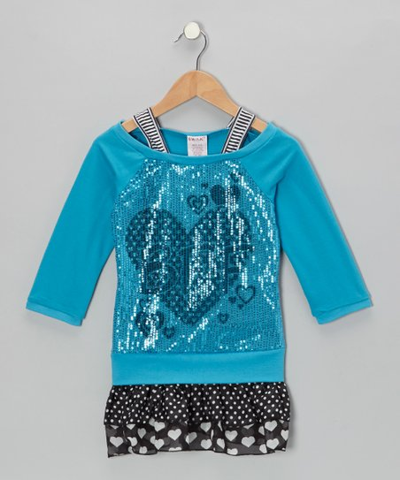 Blue Sequin Heart Layered Drop-Waist Dress - Toddler