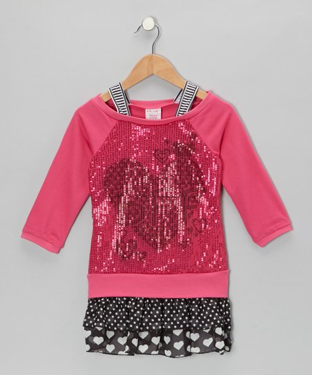 Pink Sequin Heart Layered Drop-Waist Dress - Toddler