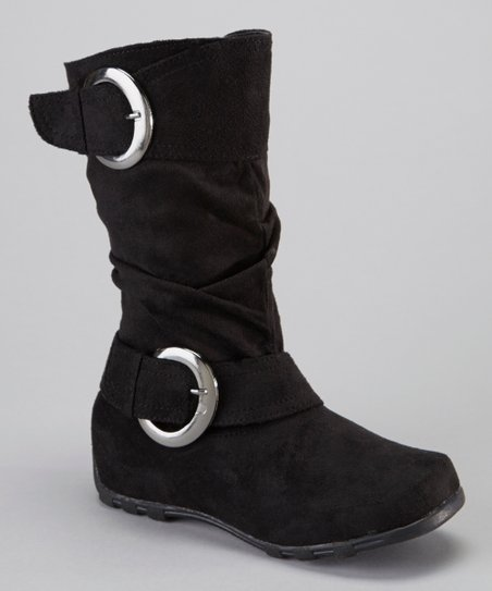 Black Shiny Buckle Boot