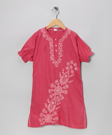 Fuchsia & White Hand-Embroidered Dress – Infant, Toddler & Girls