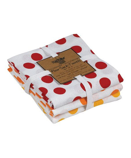 Red & Orange Dot Kitchen Towel Set
