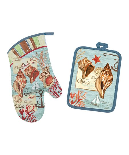 By the Seaside Pot Holder & Oven Mitt