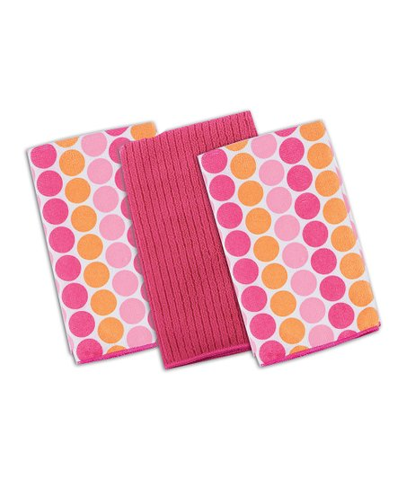 Pink Dot Microfiber Cloth Set