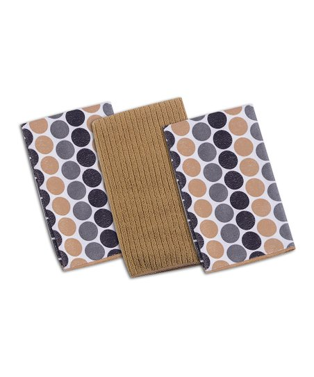 Kay Dee Designs Taupe Dot Microfiber Cloth 6-Piece Set