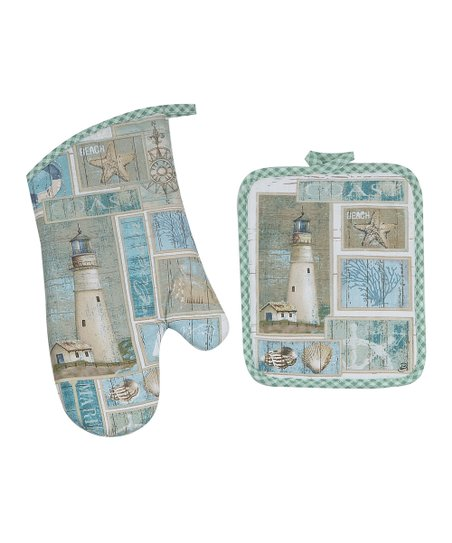 Coastal Lighthouse Pot Holder & Oven Mitt