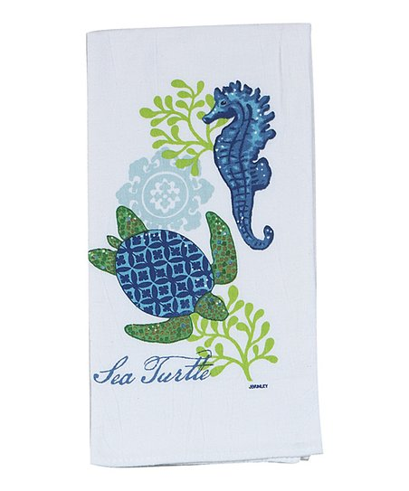 Sea Turtle Flour Sack Dish Towel - Set of Two