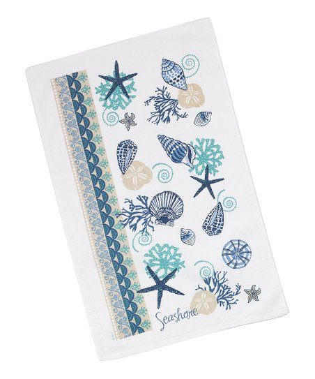 Blue Shell Dish Towel - Set of Two