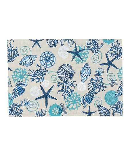 Blue Shell Reversible Place Mat - Set of Four