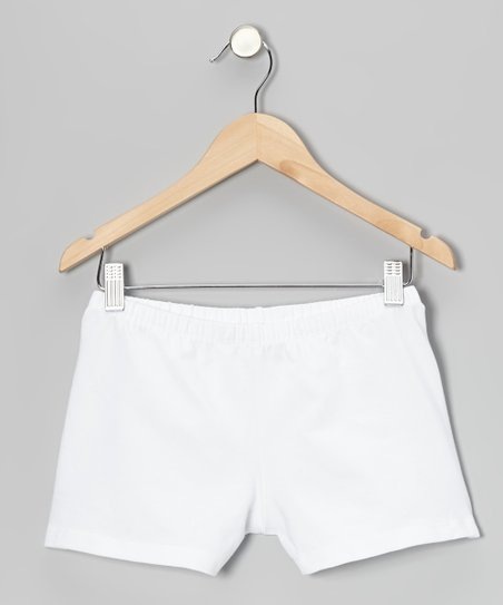 White Solid Shorts - Girls