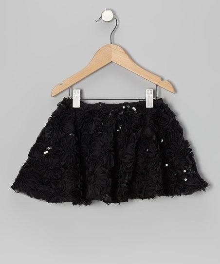 Black Sequin Floral Skirt - Toddler & Girls