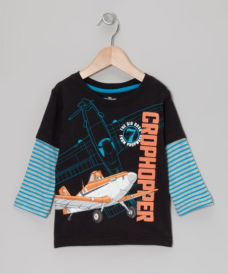 Black & Blue 'Crophopper' Layered Tee - Toddler