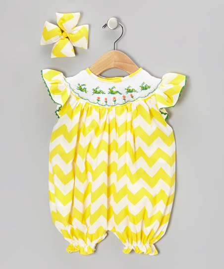 Yellow Grasshopper Bubble Romper & Bow Clip - Infant