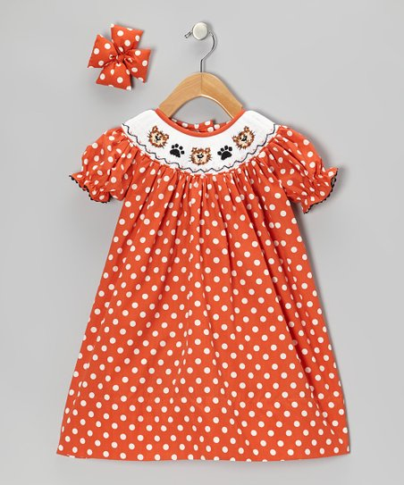 Orange Kitty Bishop Dress & Bow Clip - Infant, Toddler & Girls