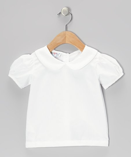 White Peter Pan Puff-Sleeve Top - Infant, Toddler & Girls