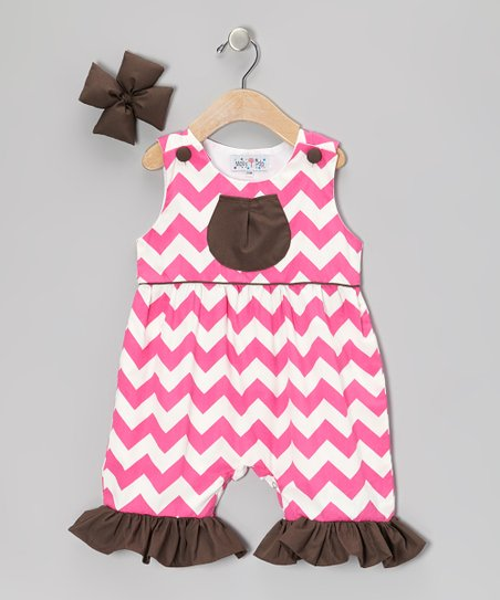 Pink Zigzag Ruffle Romper & Bow Clip - Infant, Toddler & Girls