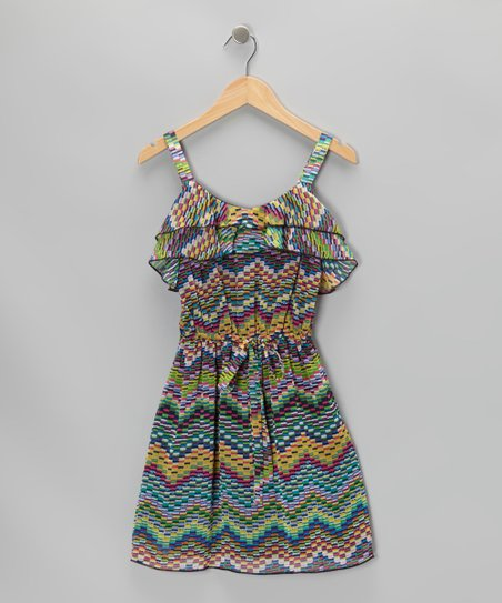 Rainbow Zigzag Ruffle Dress