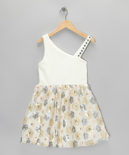 White & Cream Daisy Shimmer Asymmetrical Dress