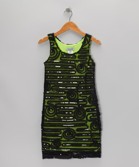 Green Sequin Maze Dress